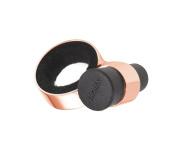 TROIKA WINE@8 – DRY07/RG – Bottle collar and cork holder for wine bottles – incl. cork (silicone, black) – metal/felt– shiny – black, rose-gold – TROIKA-original