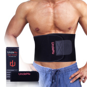 UncleHu Waist Trimmer, Weight Loss Ab Sauna Belt with Back Support Workout Sweat Enhancer Exercise Adjustable Wrap for Stomach to Burn Fat, Get Slim Body, Flat Tummy, Fitness Guide for Men & Women