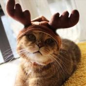 Kungfu Mall Christmas Costume Pet Cat Dog Antlers Hat Cap Pet Dog Clothes Reindeer Horns Headwear Puppy Doggy Kitten Headband Christmas Collar