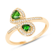 0.52 ct. Genuine Chrome Diopside and White Diamond 14K Yellow Gold Ring