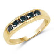 14K Yellow Gold Plated 0.80 ct. Genuine Blue Diamond Sterling Silver Ring