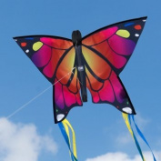 Butterfly kite - Butterfly PINK - kite for kids . and up - 58x40cm - including flying line - with 195cm bow tails