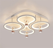 DELLT- Square Living Room Lamp Crystal Ceiling Lamp Modern Minimalist Atmospheric Personality LED Wrought Iron Bedroom Ceiling Lamps