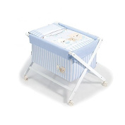 lounge-zone Travel Bed Bassinet Baby Bed Baby Love Azul, Mesh - including mattress and Bedding Light Blue White Striped 14196