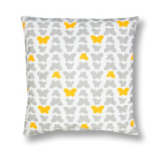 Amilian® Handcrafted Decorative Plush Filled Art-Deco Butterfly Print Yellow/Grey/White 100% Cotton Premium Quality Durable Throw Cushion Pillow Large 80 cm x 80 cm