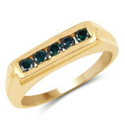 14K Yellow Gold Plated 0.50 ct. Genuine Blue Diamond Sterling Silver Ring