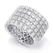 Sterling Silver 6.00ctw White Natural Zircon Band Ring SZ 5,6,7,8,9,10