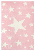 Kids rug Happy Rugs STARS pink/white 80x150cm