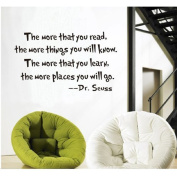 MLMSZ the More That You Read the More Things You Will Know Dr seuss Wall Stickers Home Decals Decor Quote Art Vinyl Kids Nursery Bedroom Murals
