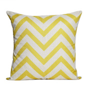 outflower Pillowcase Simple and Elegant Grid Solid Colour Cushion Cover Linen Canvas/Bedroom/Living Room/Office/Car (45 * 45 cm & # xFF09;, Linen, yellow, 45*45cm