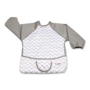 Luxja Baby Waterproof Sleeved Bib, Long Sleeve Bib for Toddler (6-24 Months), Grey Chevron