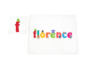 Feel Good Art High Gloss Placemat and Coaster for Babies and Toddlers Cute Illustrations and Personalised with Girl's Name
