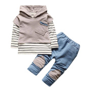 Sunyoyo Infant Baby Warm Outfits Hooded Clothes Toddler Kids Autumn Stripe T-shirt Tops+Pants Clothes Set
