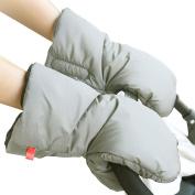 Baby Stroller Handmuff Waterproof Anti-freeze Pushchair Gloves Extra Thick Warm Winter Kids Pram Carriage Hand Cover Grey