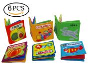 Quner Baby Cloth Books Infant Early Learning Books Fruit Vegetable Non-Toxic Soft toddler Children Books 4.13*9cm Pack of 6