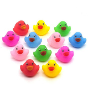 timeracing 12Pcs Lovely Mini Colourful Bathtime Kids Baby Bath Toy Ducks Squeaky Water Play Fun