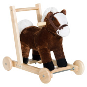 HOMCOM 3-in-1 Toddler Kids Ride on Toy Walker with 32 Songs, Wheels and Handle Horse