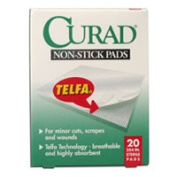 Curad Non-Stick Pads Ouchless, Model No : 27000, 7.6cm X 10cm Sterile Pads - 20 Ea
