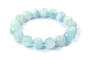 Beautiful Aquamarine Bracelet Round Beads Diameter 10 mm