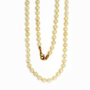 Glass Bead Chain, 6 mm Pearl, 50 cm Length, Cream with Gold Coloured Metalwork