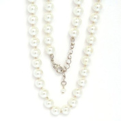 Glass Bead Chain, 8 mm Beads, 40 cm Length, In Metal with Silvery White