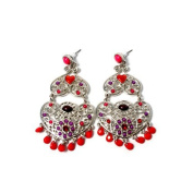 Silver Pearl Stud Earring with Colourful Romantic, Heart and Red Rhinestone