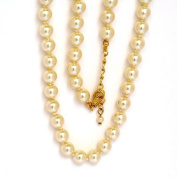 Glass Bead Chain, 8 mm Beads, 40 cm Length, Cream with Gold Coloured Metalwork