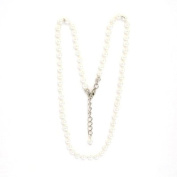 Designer Jewellery - 4 MM Beads, 38 CM long, white with silver metal