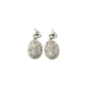 Silver Stud Earring with Gitternetz Lines, Rhinestones and White Pearls