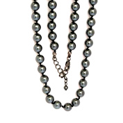 Glass Bead Chain, 8 mm Beads, 40 cm Length, Black Colour with Metal-Hematite