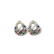 Drop Ring in Silver with Colourful Rhinestones and White Pearls