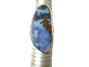 Adjustable Australian Boulder OPAL Sterling Silver 925 Gemstone Ring - (BOR2111171) - Gift Boxed