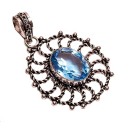 925 Sterling Silver Overlay NLG-30 Sky Blue Topaz Stone Width 3.1cm Girls Women's Pendant Necklace Rhodium Plated Chain