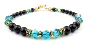 Damali Handmade Vermeil Black Faux Pearl Beaded Crystal Bracelets Simulated Birthstone Garnet - January