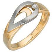 Women's With diamonds 585 yellow gold white gold finger ring gold ring