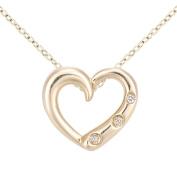 Naava Women's 9ct Yellow Gold Diamond Three Stone Set Heart Pendant Necklace of Length 46cm