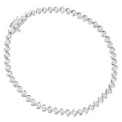 Naava Women's 9ct White Gold Total 2.00ct Diamond Tennis Bracelet of Length 18.2cm PBC03269W