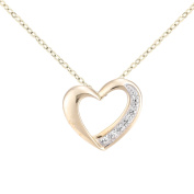 Naava Women's 9ct Gold Diamond Heart Pendant and Chain Necklace of Length 46cm