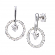 Naava Women's 9ct White Gold Diamond Heart Drop Earrings