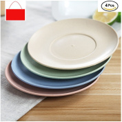 YOOKOON 4 Pcs Wheat Straw Eco Friendly Biodegradable Dinner Plates 15cm Round Plate