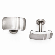 Grey Titanium Edward Mirell Titanium and Sterling Silver Brushed Cuff Links