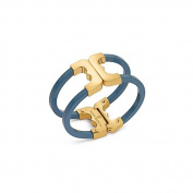 Tory Burch Gemini Link Resin Hinge Cuff Bracelet 16k Gold Atlantic Blue