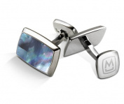 M-CLIP TAPERED RECTANGLE Grey Blue Mother of Pearl Tapered Rectangle Cufflinks