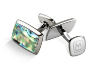 M-CLIP TAPERED RECTANGLE Green Abalone Tapered Rectangle Cufflinks