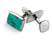 M-CLIP TAPERED RECTANGLE Teal Angel Wing Tapered Rectangle Cufflinks