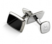 M-CLIP TAPERED RECTANGLE Black Enamel Cufflinks