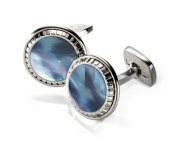 M-CLIP CARVED ROUND Grey Mother of Pearl Carved Round Cufflinks