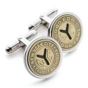 Silver Plated NYC Subway Token Cufflinks