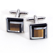 Bey-Berk Rhodium-Plated Cufflinks with Semi Precious Stones