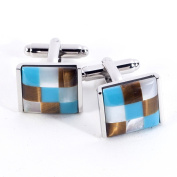 Bey-Berk Rhodium-Plated Blue and Brown Cufflinks with Semi Precious Stones